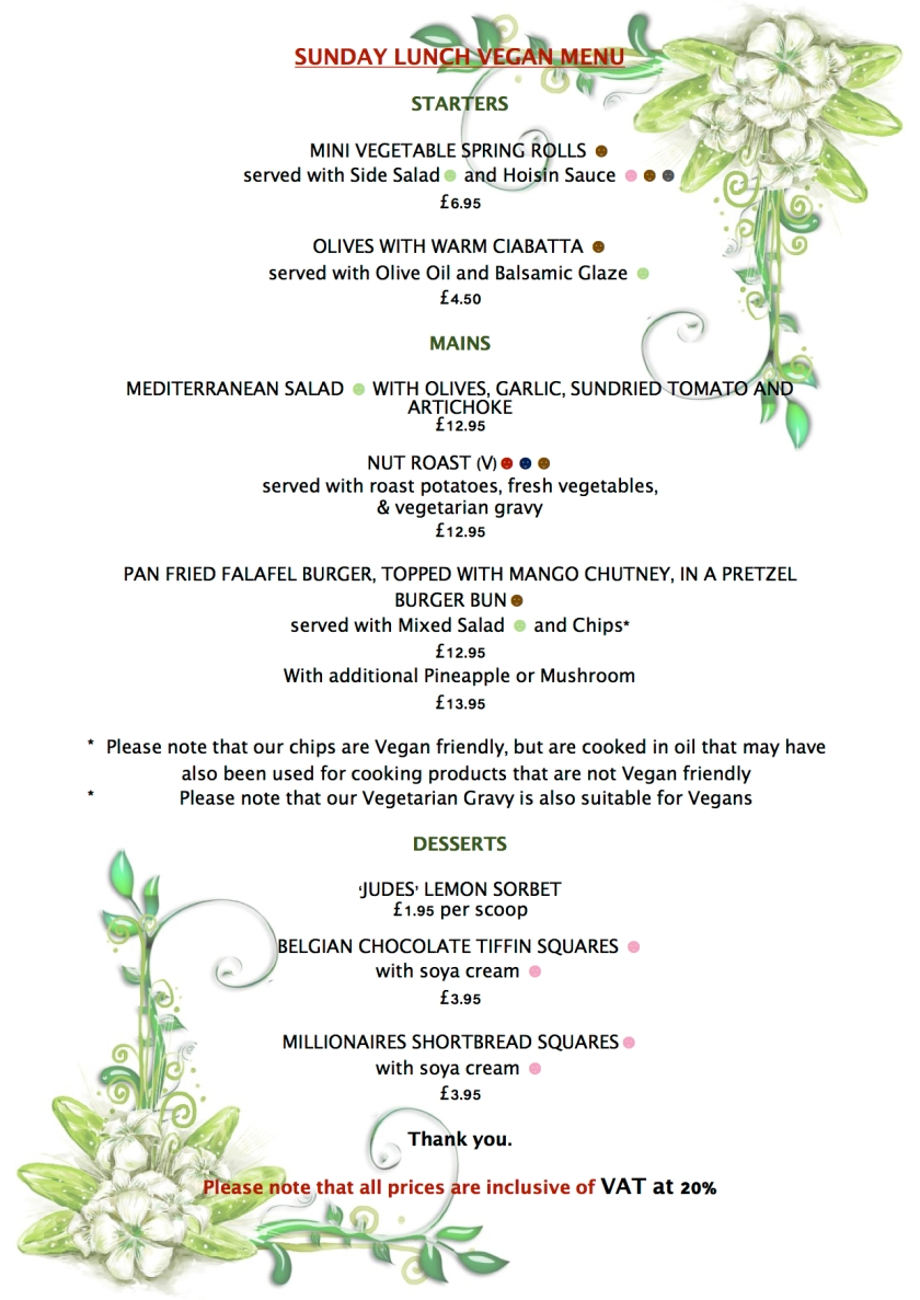 SUMMER SUNDAY VEGAN MENU 2017