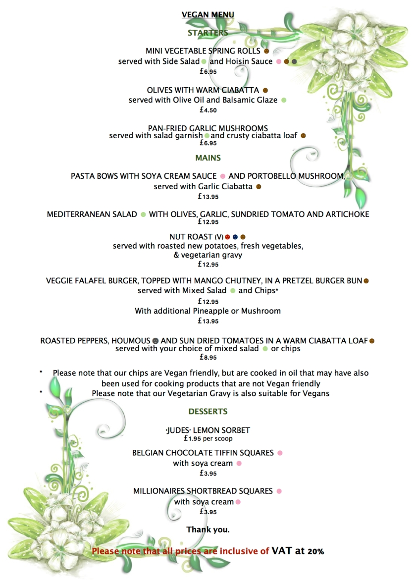 SUMMER VEGAN MENU 2017